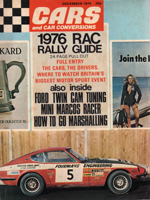 Fourways Engineerings 240Z rally car on the front cover of Car and Car Conversions magazine